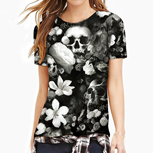 ManxiVoo Clearance Skull T-Shirt Day of The Dead Shirts! 3D Skull Lovers Printing Tees Shirt Big Promotions! (XL, White) ()