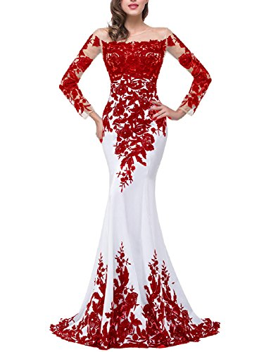 OYISHA Womens Lace Applique Evening Dress with Long Sleeves Long Mermaid Wedding Celebrity Gown EV122 White & Red 20Plus