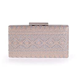 Chicastic Black Tribal Embroidery Hard Box Evening Wedding Clutch Purse