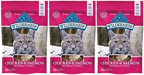 Blue Buffalo Wilderness Salmon and Chicken CAT Treats Made in USA 3 Bags