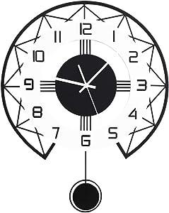 SHISEDECO Metal Black Drop Wall Clock,Pretty Classic Design,Non-Ticking Silent Quartz Pendulum Clocks with Arabic Numerals Home Decoration-Black and White Design (Classic)