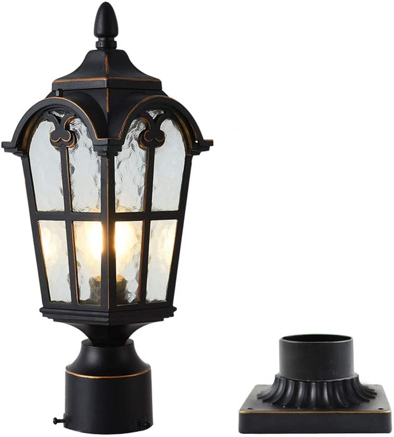 LONEDRUID Outdoor Post Light Fixture Black Modern Exterior Pole Lantern with 3 inch Pier Mount Base for Garden Patio Pathway, UL Listed