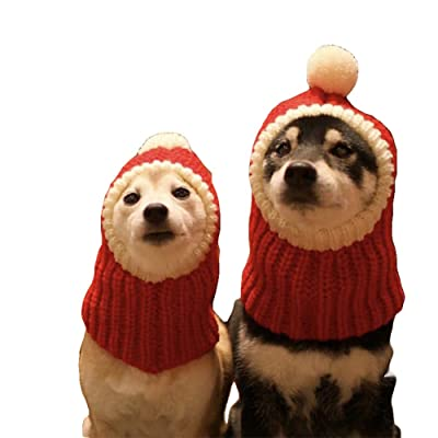 NACOCO Christmas Dog Hat Crocheted Snood Funny Pet Cap