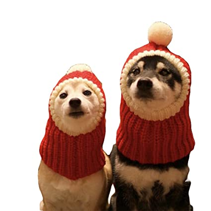 nacoco funny christmas dog hat wiht pompon crocheted snood dog hat red warm winter dog hat