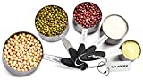 Stainless Steel Measuring Cups, Nesting Measuring Cups Set of 5 Includes 1/8 cup, ¼ cup, ⅓ cup, ½ cup and 1 cup, Measuring Dry and Liquid Ingredients.