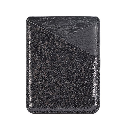 (Glitter Colors 3M Adhesive Purse ID/Credit Card Holder,Multi-function Ultra Slim 2Card Slots Wallet Pocket Stick on Phone/Tablet Case Fits iPhone X/6/7 Plus,Galaxy S9/A8/Note 8,LG G5 (Black))
