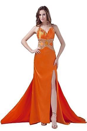 DBBRIDL Orange new Halter Neckline Prom Dress 2