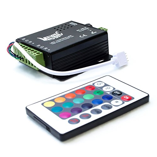 HitLights LED Light Strip Music Controller 12V-24V, Sound Activated - Includes 24 key remote, for SMD5050 RGB Multicolor ()