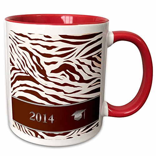 3dRose Beverly Turner Graduation Design - 2014 Zebra Print with Graduation Cap, Coral - 15oz Two-Tone Red Mug (mug_180903_10) (Invitation Zebra Graduation)