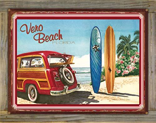 Northwest Art Mall Vero Beach Florida Woodie Car & Surfboards Rustic Metal Print on Reclaimed Barn Wood by Evelyn Jenkins Drew (18