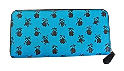 Coach Accordion Zip Clutch Wallet Turquoise-Black Badlands Floral F56716