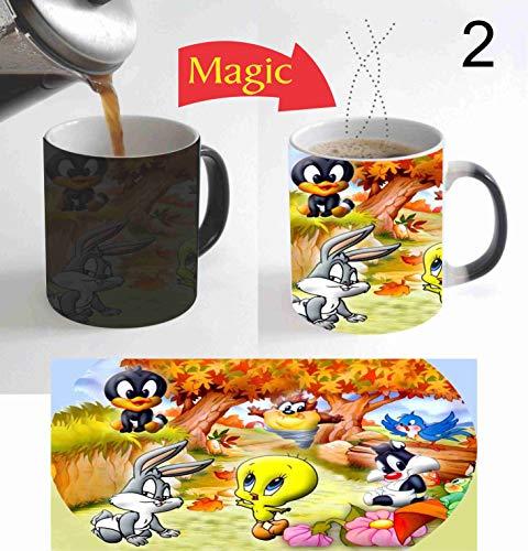 Cartoon Movies Looney Tunes Design 11 Oz Magic Mug Color Change Heat Reactive Coffee Mug for Christmas New Year Gift for Kids Teens C162 (Teen Tunes)