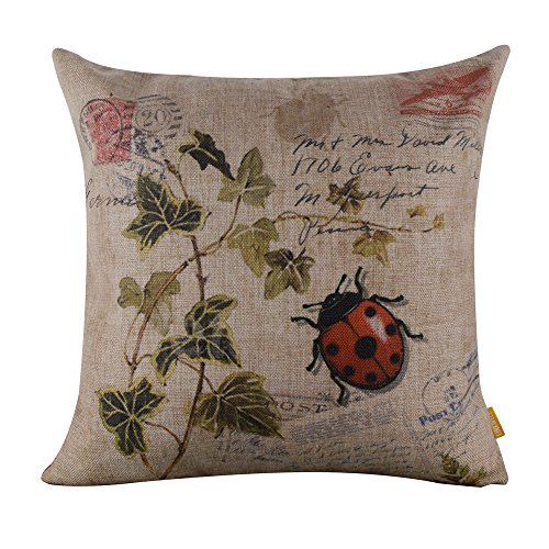 (LINKWELL 45x45cm Seven-spotted Ladybug Ladybird insects Coccinella Septempunctata Green Leaf Linen Cushion Cover Pillow Case)
