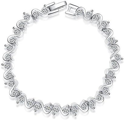 Villa Vivi Mujer Joyas pulsera plata circonitas brillantes pulseras geschnenke para mujeres niña: Amazon.es: Joyería