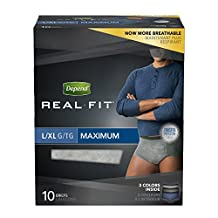 Depend Underwear Real Fit Max Absorbency - Large/X-Large for Men, 10 Count