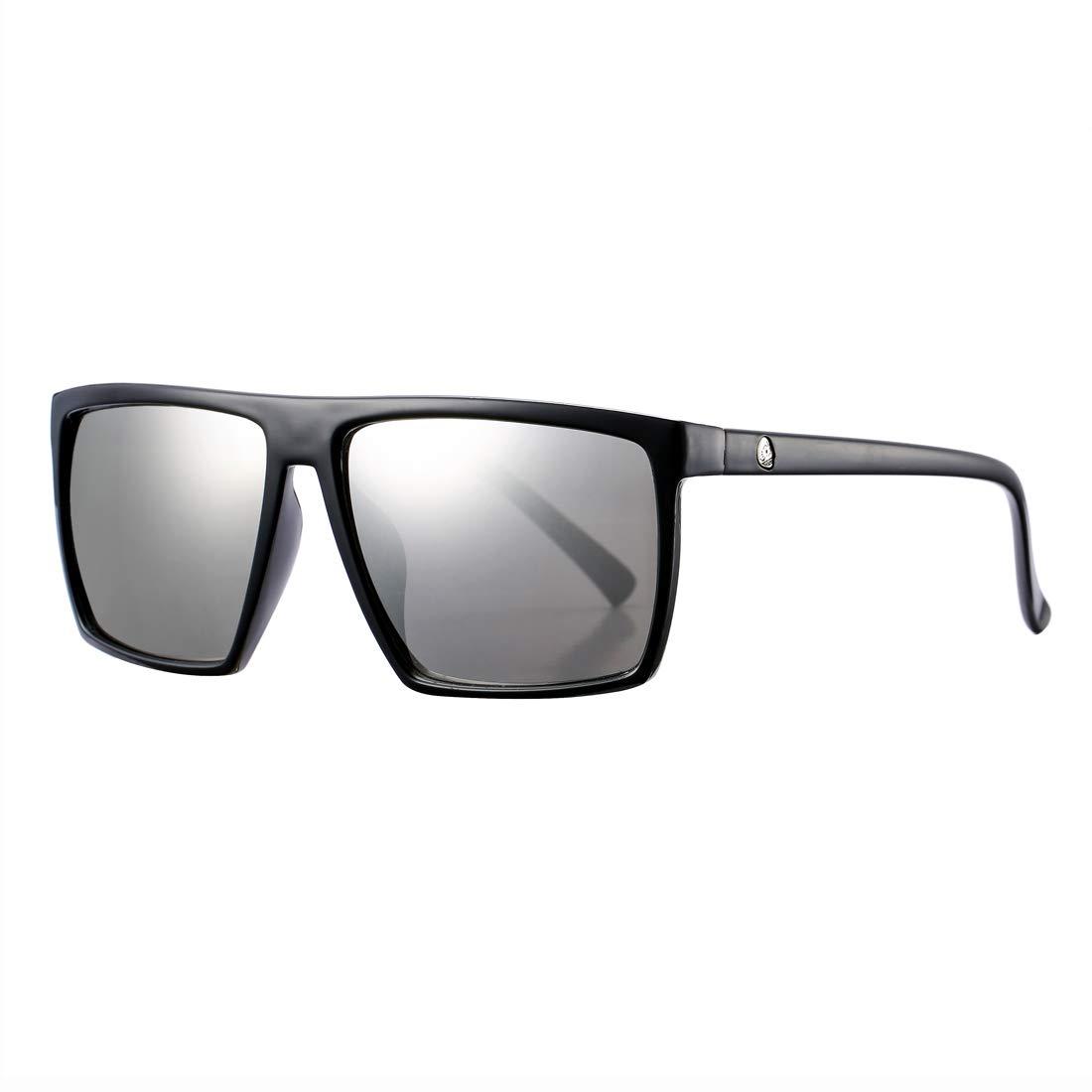 da96cda665 Amazon.com  Square Sunglasses for Men Women Oversized Retro 100% UV  Protection Black Shades (Black Frame Silver Mirror Lens)  Clothing
