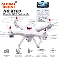 Oksale Global Drone [Upgraded] X183 Dual-GPS Follow Me Brushless Quadcopter, 5.8GHz 6-Axis Gyro WiFi FPV RC Quadcopter, With 2.0MP 1080P HD Camera, 5 LCD Ccreen, 360 Degree Surrounding