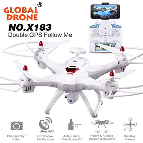 Oksale Global Drone [Upgraded] X183 Dual-GPS Follow Me Brushless Quadcopter, 5.8GHz 6-Axis Gyro WiFi FPV RC Quadcopter, With 2.0MP 1080P HD Camera, 5