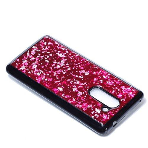 EUWLY Funda Huawei Honor 6X, Carcasa Huawei Honor 6X Silicona, Ultra Slim Flexible Silicona Parachoques Gel TPU Case Cover Glitter Sparkle Brillo de Colores Brillante Lentejuelas Diseño Silicona Carca Rojo