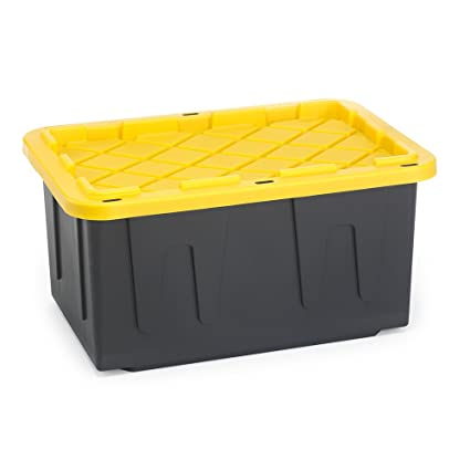 HOMZ Durabilt Tough Storage Tote Box, 27 Gallon, Black With Yellow Lid,  Stackable