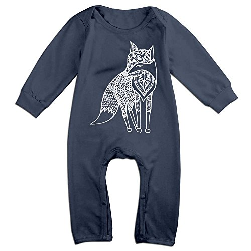 Boy & Girl Infants Fox Art Design Long Sleeve Romper Climb Clothes 18 Months Navy (Park Tavern Halloween)
