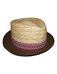 Daniel Cremieux Men's Straw Fedora Hat Natural with Red Diamond Band Small/Med