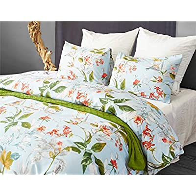 BBSET Floral Duvet Cover Sets Queen - Green Leaves and Colourful Flowers Printed on White Bedding Cover Sets, 3 Pieces with 1 Pillow Shams and 1 Comforter Cover for Boys Girls Women Men Kids: Home & Kitchen