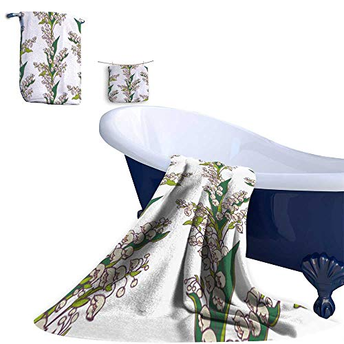 Bouquet Valley The Lily Of (Home 3 Piece Bath Towel Set, Bouquet Flowers Lily Valley on White backgroun Material - 100% Microfiber,Ideal for Bathroom Office and Gym use.)
