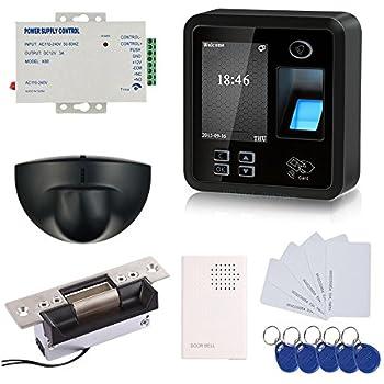 ... dactilar RFID EM-ID Card Sistema de control de acceso Kit con Falla Secure Strike bloqueo y fuente de alimentación y salida de sensor de movimiento
