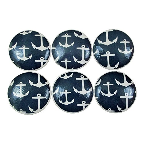Set of 6 Navy Nautical Anchor Knobs