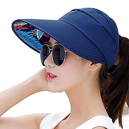 Sun Visor Hats for Women Large Wide Brim Foldable Summer Beach Hat UV Protection Caps (E-Navy) ()