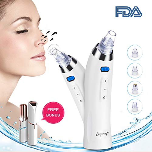 Blackhead Remover Vacuum Pore Cleanser Blackhead Extractor Suction Machine Microdermabrasion Machine for Derma Suction & Facial Hair Removal - Replaceable 5 Probes