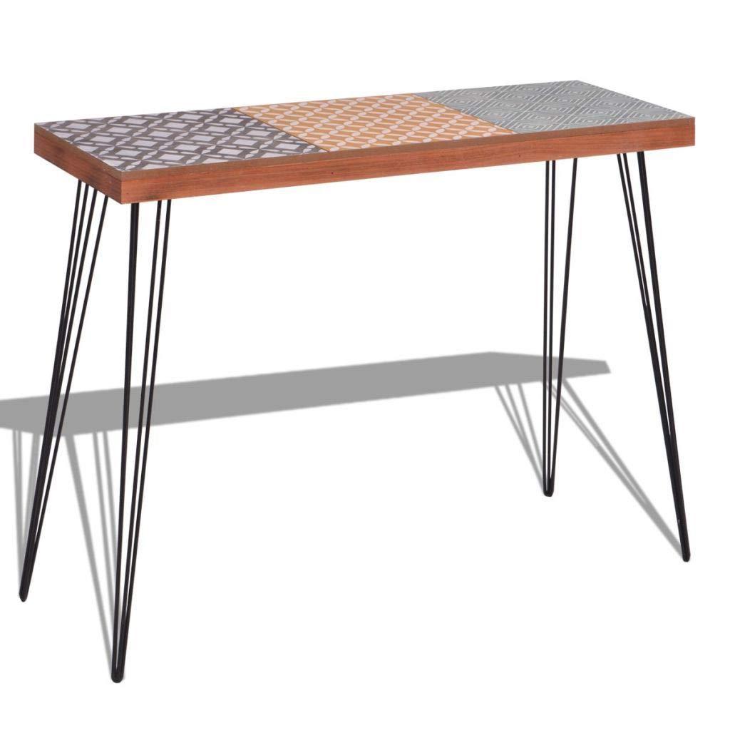 WT Trade Deluxe Konsolentisch Konsole Ablagetisch Braun | 90 cm | MDF Stahl | Sideboard Vintage Flurtisch | Sekretä r Tischkonsole Kommode Schminktisch Schreibtisch
