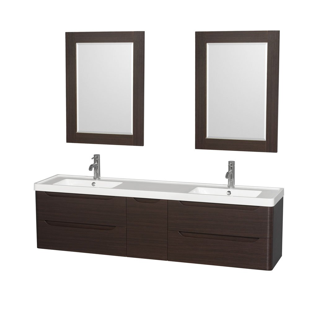 Wyndham Collection Murano 72 Double Bathroom Vanity in Espresso - Acrylic-Resin Countertop - Integrated Sinks & 24 Mirrors