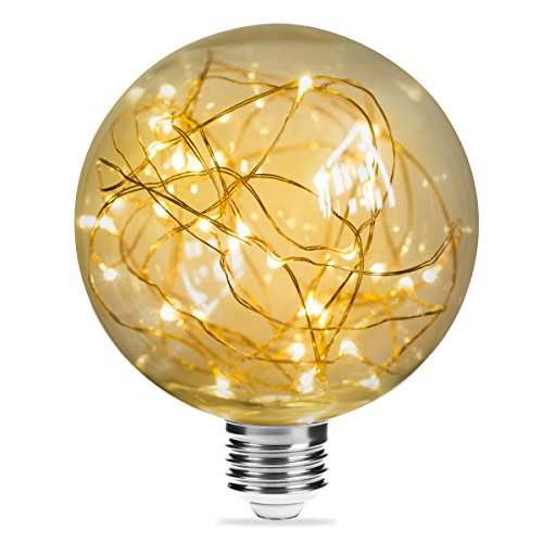 DORESshop G95 Vintage Edison Bulb, 3W Globe String Light Bulb, E26 Base Decorative Antique Filament LED Starry Fairy Lights, Indoor Hanging Lights for Christmas Festival-Warm White (Fairy Bulbs Light)