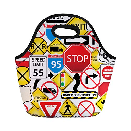 Semtomn Neoprene Lunch Tote Bag Street Collage of Road and Traffic Signs Highway Stop Reusable Cooler Bags Insulated Thermal Picnic Handbag for Travel,School,Outdoors, - Traffic Signs Clipart