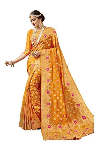 for Yellow Ethnic Facioun Sarees Indian Rajasthani Color Traditional Sari Women Da tTqZf