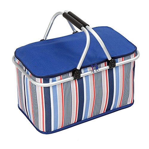 Crazyworld Large Insulated Picnic Basket , 32L Family Size Folding Collapsible Tote Picnic Hamper Set, Outdoor Thermal Cool for 3-6 Hours Water Insulated Bag Zip Closure with Carry Handle, Lunch Bag