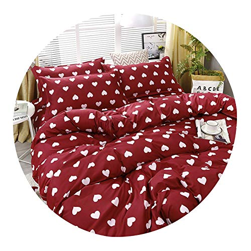 3/4pcs/set High Red Heart Printing Textile Bedding Set Include Duvet Cover&Sheets&Pillowcases Comfortable Home Bed Set…