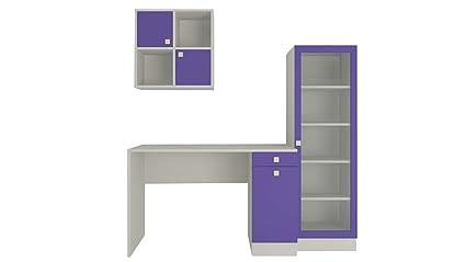 Adona Celestia Kids Study Desk Storage And Bookshelf Set Purple