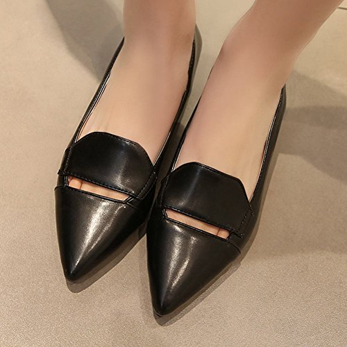 Carolbar Womens Pointed Toe Fashion Casual Low Heels Loafers Shoes Black IPXqzr3S2