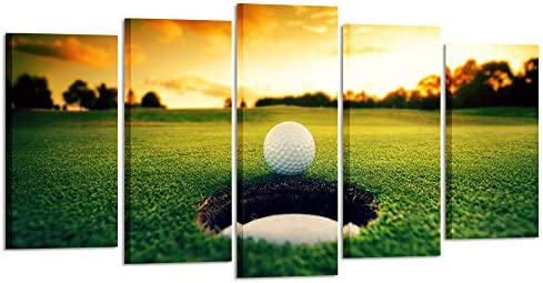 picture of Kreative Arts » Golf Course Scenery Canvas Wall Art Contemporary Sunset