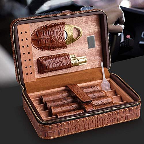 HYZXJHE Cigar Box Portable Cedar Box Leather Cedar Wood with Hygrometer Can Accommodate 4 Cigars by HYZXJHE (Image #2)