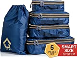 Compression Packing Cubes Set – Luggage Organizers for Travel With Double Zipper – 5 Piece Water Resistant Packing Squares & Laundry Bag for Carry On (Bright Blue)