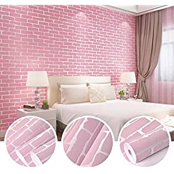 N.SunForest Pink 3D Elasticity Self-Adhesive Peel and Stick Brick Grain Non-Woven Fabric Wallpaper Home Living Room Bedroom Baby Nursery Wall Decor Art Murals