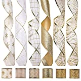 iPEGTOP Wired Christmas Ribbon, Assorted Organza Swirl Sheer Glitter Tulle Crafts Gift Wrapping Ribbon Christmas Design Decorations, 36 Yards (6 Roll x 6 yd) by 2.5 inch, White/Gold