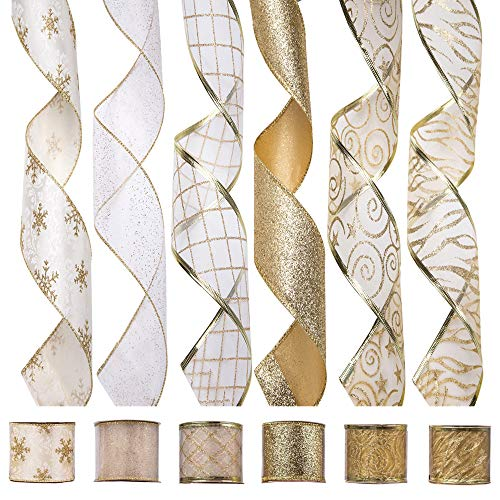 iPEGTOP Wired Christmas Ribbon, Assorted Organza Swirl Sheer Glitter Tulle Crafts Gift Wrapping Ribbon Christmas Design Decorations, 36 Yards (6 Roll x 6 yd) by 2.5 inch, White/Gold ()