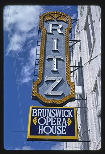 Vintography 16 x 24 Gallery Wrapped Framed Art Canvas Print of Ritz Theater Sign, Brunswick, Georgia 1990 Roadside Americana Ready to Hang ()