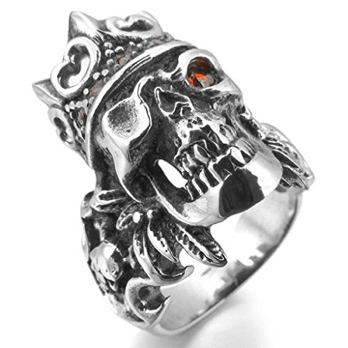 [Epinki,Fashion Jewelry Men's Stainless Steel Rings CZ Silver Black Red Pirate Skull Shield Royal King Crown Feather Gothic Size] (White Trash Lady Costume)