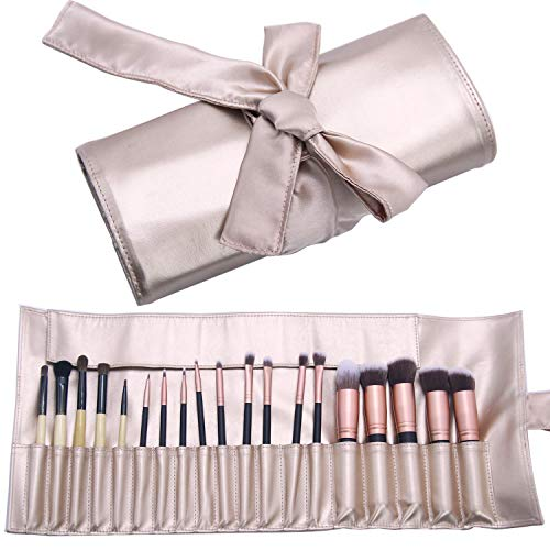 Makeup Brush Organizer Rolling Bag Cosmetic Case PU Leather Brush Holder Travel Portable 18 Slots Makeup Artist Storage Handbag